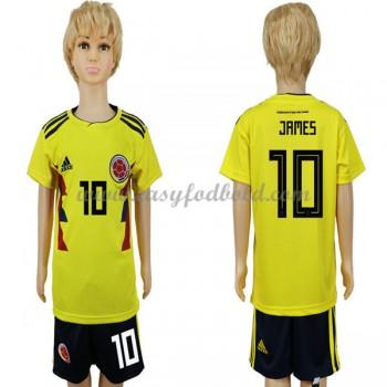 Landsholdstrøjer Børn Colombia VM 2018 James Rodriguez 10 Hjemmebane Fodboldsæt